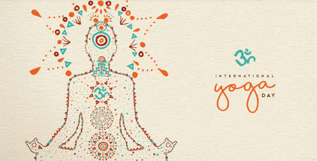 Ilustración de International yoga day web banner. Person relaxing in lotus pose made of indian culture boho style decoration, zen meditation exercise illustration. - Imagen libre de derechos