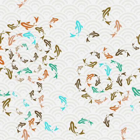 Illustration pour Koi fish seamless pattern, colorful asian style art of carp goldfish swimming in pond. Hand drawn illustration background. - image libre de droit