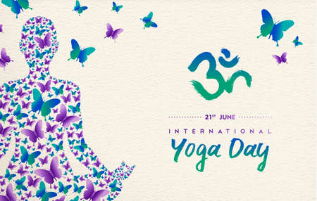 Ilustración de International yoga day greeting card for special event. Woman meditating in lotus pose made of butterfly decoration, relaxation exercise illustration. - Imagen libre de derechos