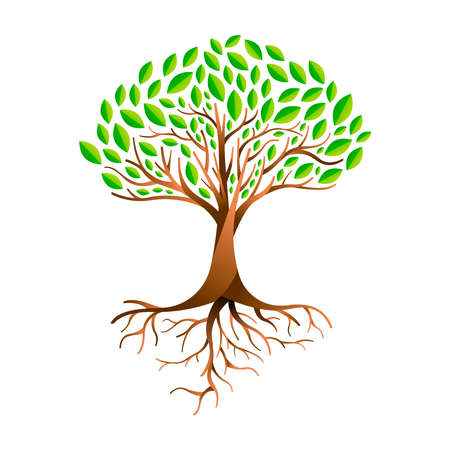 Illustration pour Tree made of green leaves with branches and roots. Nature concept, Environment help or earth care. - image libre de droit