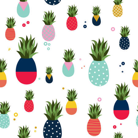 Illustration for Pineapple seamless pattern illustration, colorful memphis retro style fruit background. Abstract geometric shape decoration for summer. - Royalty Free Image