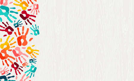 Illustration pour Human hand print color background. Colorful children paint handprints illustration for social community, education or teamwork concept.  vector. - image libre de droit