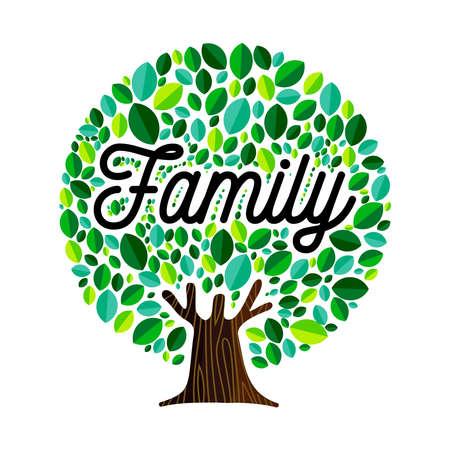 Ilustración de Family tree illustration concept, green leaves with text quote for genealogy design.  vector. - Imagen libre de derechos