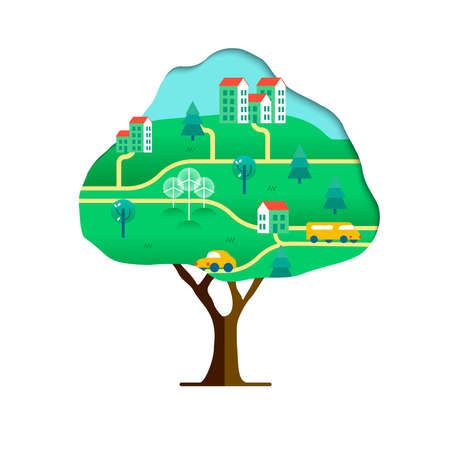 Ilustración de Tree with green city paper cutout isolated over white. Environment care concept for nature help. Sustainable community includes wind mill turbine, electric cars and smart houses.vector. - Imagen libre de derechos
