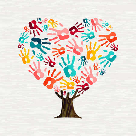 Illustrazione per Tree made of colorful human hands in heart shape. Community help concept or social project. vector. - Immagini Royalty Free