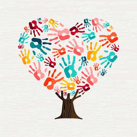 Ilustración de Tree made of colorful human hands in heart shape. Community help concept or social project. vector. - Imagen libre de derechos