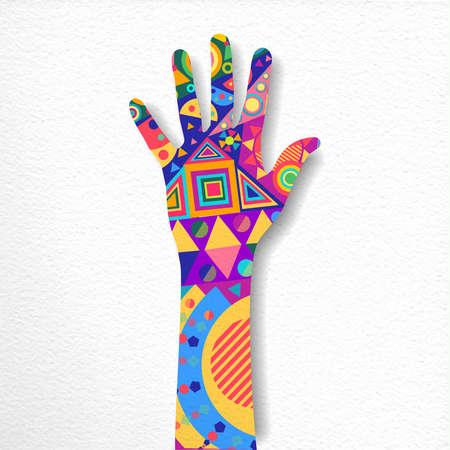 Ilustración de Human hand with colorful shape decoration on isolated background. Paper cutout style concept illustration. vector. - Imagen libre de derechos