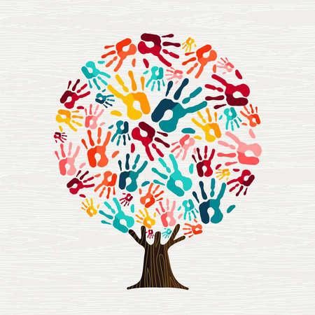 Ilustración de Tree made of colorful human hands in branches. Community help concept, diverse culture group or social project.  vector. - Imagen libre de derechos