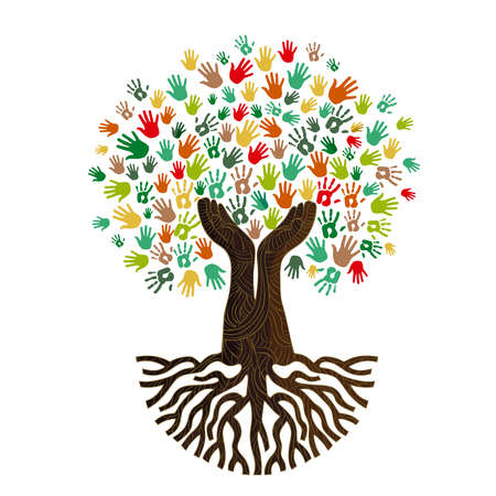Illustrazione per Tree with colorful human hands together. Community team concept illustration for culture diversity, nature care or teamwork project. vector. - Immagini Royalty Free