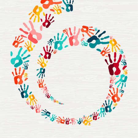 Ilustración de Color handprint background concept, human hand print illustration for kid education, school learning or diverse community help. vector. - Imagen libre de derechos