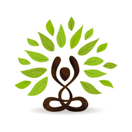Illustrazione per Abstract yoga concept illustration, person doing lotus pose meditation with green leaves for nature connection. vector. - Immagini Royalty Free