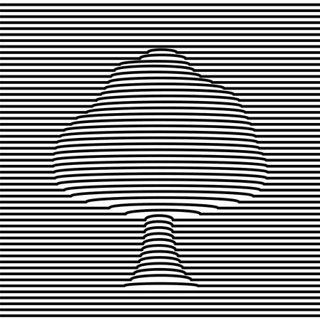 Ilustración de Tree shape optic illusion illustration in black and white. 3d volume effect abstract design. vector. - Imagen libre de derechos