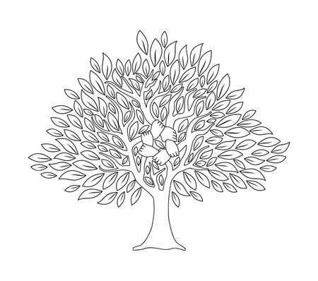 Illustration for Tree with human hands together in outline style. Community team concept illustration for culture diversity, nature care or teamwork project. vector. - Royalty Free Image