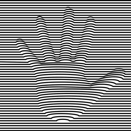 Illustration pour Human hand optic illusion illustration in black and white. 3d volume effect abstract design. vector. - image libre de droit