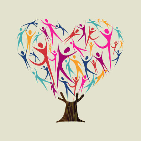 Foto de Heart shape tree made of colorful people silhouettes. Community help concept, diverse culture group or social project. vector. - Imagen libre de derechos