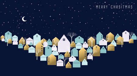 Illustration for Merry Christmas holiday greeting card. Winter city on xmas eve night with cute houses, seasonal trees and star sky background. EPS10 vector. - Royalty Free Image