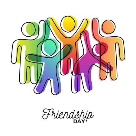 Ilustración de Happy Friendship Day greeting card. Colorful diverse friend group dancing for special event celebration in simple stick figure art style with vibrant colors. EPS10 vector. - Imagen libre de derechos