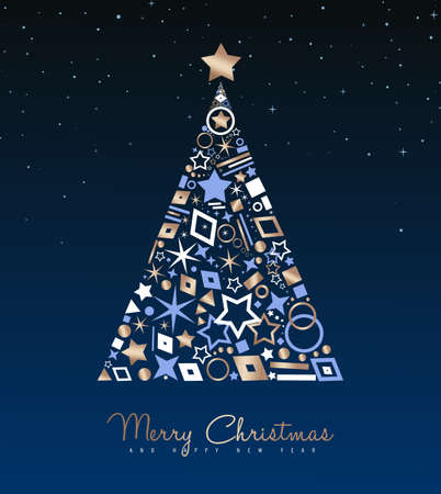 Ilustración de Merry Christmas and New Year luxury greeting card illustration. Xmas pine tree made of elegant copper icons on night sky background. EPS10 vector. - Imagen libre de derechos
