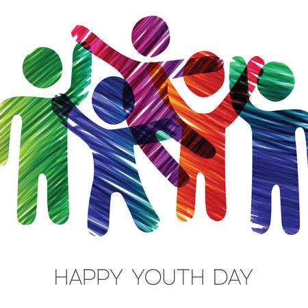 Illustrazione per Happy Youth Day greeting card illustration. Fun teen group in diverse colors made of grunge hand drawn texture. EPS10 vector. - Immagini Royalty Free