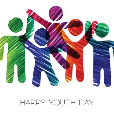 Ilustración de Happy Youth Day greeting card illustration. Fun teen group in diverse colors made of grunge hand drawn texture. EPS10 vector. - Imagen libre de derechos