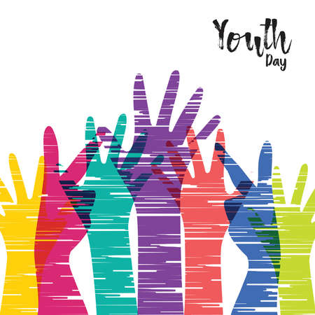 Illustration pour Happy Youth Day greeting card illustration, diverse group hands in colorful hand drawn style. Young people team with typography quote. EPS10 vector. - image libre de droit