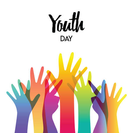 Illustration pour Happy Youth Day greeting card of diverse color hands and text quote. Colorful young people group concept. EPS10 vector. - image libre de droit