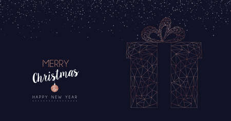 Illustrazione per Merry Christmas and Happy New Year web banner with luxury xmas gift box in abstract geometric line style, copper color holiday illustration. EPS10 vector. - Immagini Royalty Free