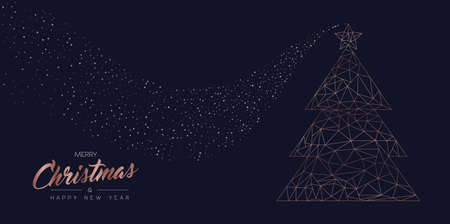 Illustrazione per Merry Christmas and Happy New Year web banner with luxury xmas pine tree in abstract geometric line style, copper color holiday illustration. EPS10 vector. - Immagini Royalty Free