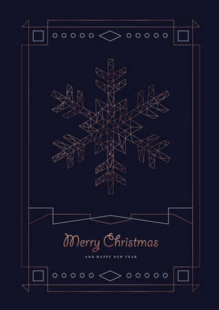 Ilustración de Merry Christmas and Happy New Year greeting card with luxury snowflake in abstract geometric line style, copper color holiday poster illustration. EPS10 vector. - Imagen libre de derechos