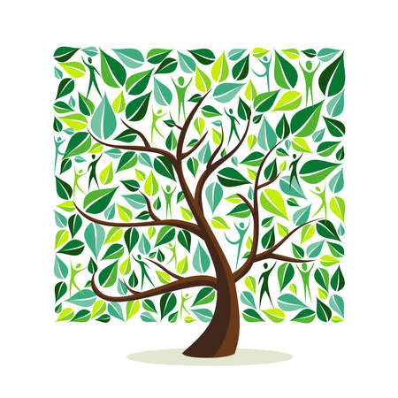 Ilustración de Tree made of green leaves with people in square shape. Nature concept, community help or care campaign. EPS10 vector. - Imagen libre de derechos