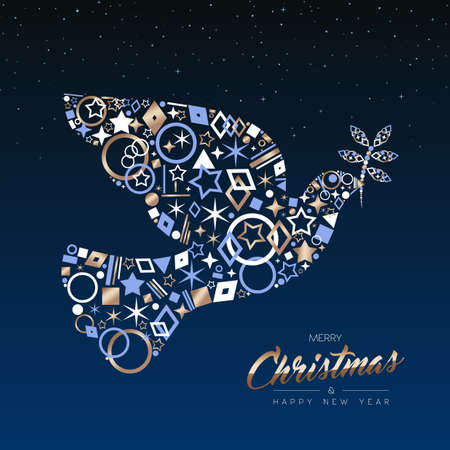 Ilustración de Merry Christmas and New Year luxury greeting card illustration. Xmas peace dove made of elegant copper icons on night sky background. EPS10 vector. - Imagen libre de derechos