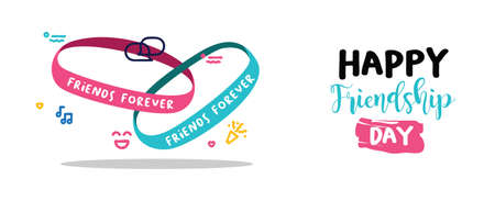 Illustration for Happy Friendship day holiday web banner of cute friend bracelet. Friends forever wrist band with text quote message. EPS10 vector. - Royalty Free Image