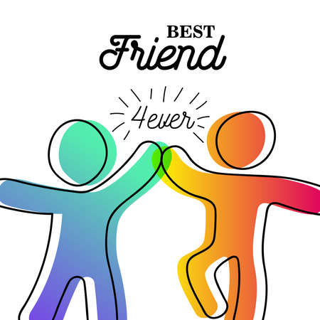 Ilustración de Happy Friendship Day greeting card. Friends doing high five for special event celebration in simple stick figure art style with best friend forever quote. EPS10 vector. - Imagen libre de derechos