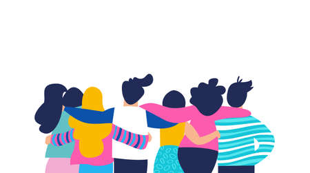 Illustration pour Diverse friend group of people hugging together for special event celebration. Girls and boys team hug on isolated background with copy space. EPS10 vector. - image libre de droit
