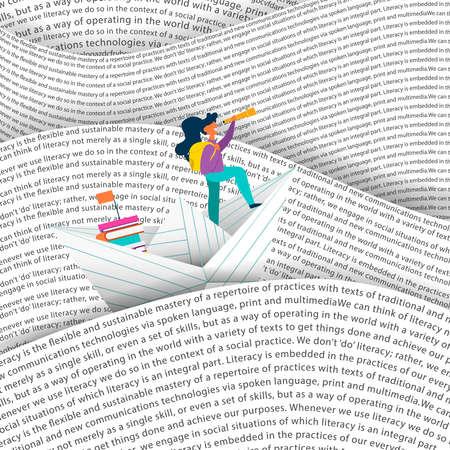 Illustration for Girl sailing paper boat in sea of words. Education concept for children reading or school project. EPS10 vector. - Royalty Free Image