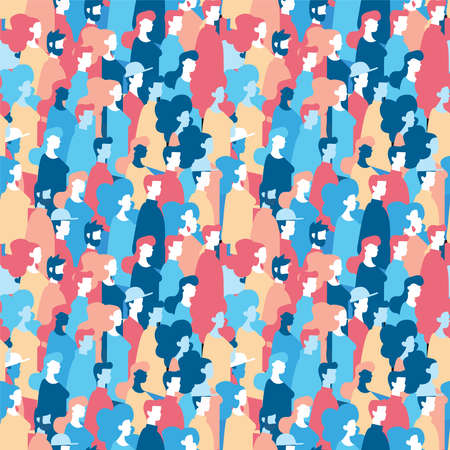Illustrazione per Social community seamless pattern of diverse people group in modern style, colorful crowd loop background with mixed men and women. EPS10 vector. - Immagini Royalty Free