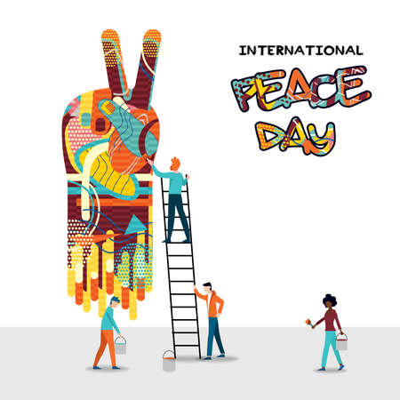 Illustration for International peace day card for world help and culture unity. Diverse friend group teamwork illustration. EPS10 vector. - Royalty Free Image