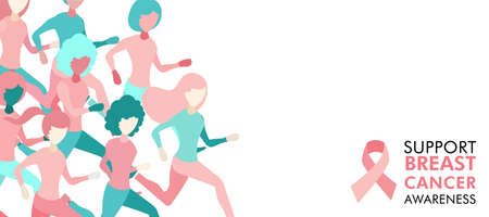Illustration for Breast Cancer Awareness illustration of women group running for charity marathon, benefit event or health support, web banner design. EPS10 vector. - Royalty Free Image