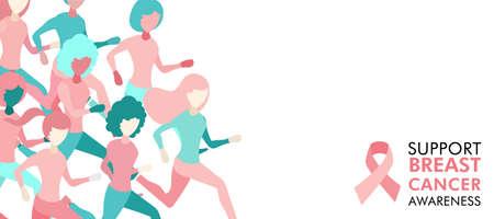 Ilustración de Breast Cancer Awareness illustration of women group running for charity marathon, benefit event or health support, web banner design. EPS10 vector. - Imagen libre de derechos