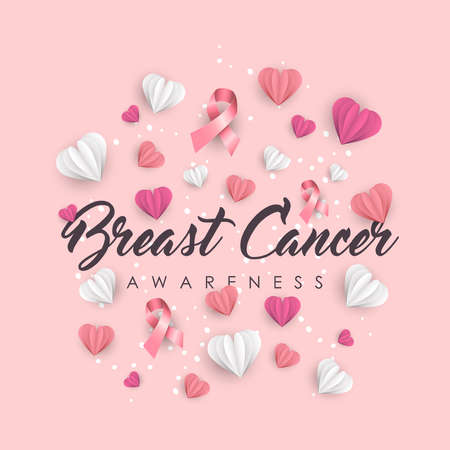 Ilustración de Breast Cancer Awareness illustration for support. Paper cut hearts and pink ribbons with typography quote. EPS10 vector. - Imagen libre de derechos