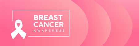 Ilustración de Breast Cancer Awareness Month web banner illustration in pink color. Modern feminine background gradient with ribbon symbol text quote sign. EPS10 vector. - Imagen libre de derechos