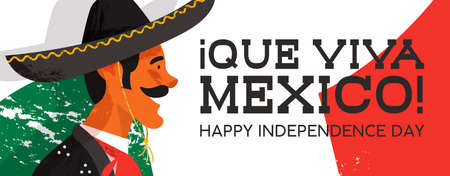Illustration for Mexico independence day web banner illustration of traditional mariachi character. Hand drawn mexican man with sombrero and typical clothes on country flag background. EPS10 vector. - Royalty Free Image