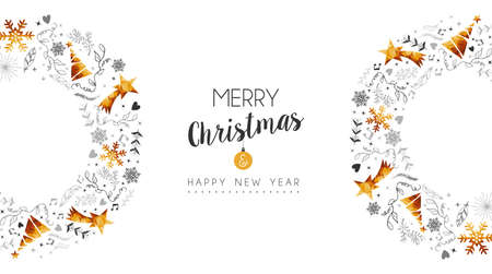 Ilustración de Merry Christmas and Happy New Year gold wave decoration with pine tree, nature hand drawn ornaments for greeting card or holiday background. EPS10 vector.  - Imagen libre de derechos