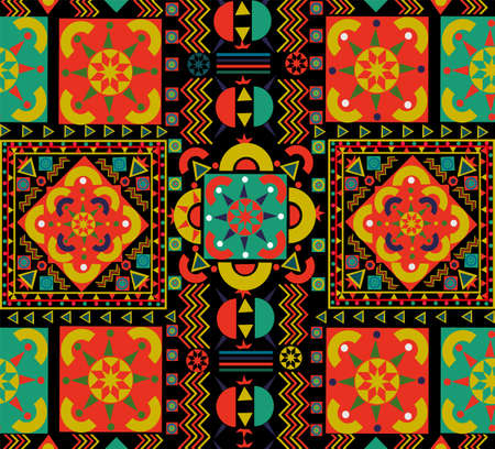 Illustration for Seamless pattern with colorful patchwork. Retro Bohemian folk multicolor floral decoration. Useful for ceramic tile, wallpaper, linoleum, textile, web page background. - Royalty Free Image
