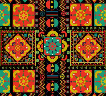 Ilustración de Seamless pattern with colorful patchwork. Retro Bohemian folk multicolor floral decoration. Useful for ceramic tile, wallpaper, linoleum, textile, web page background. - Imagen libre de derechos