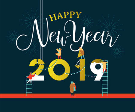 Illustration for Happy New Year greeting card illustration for celebration event with fun people group building 2019 sign together on firework night sky. EPS10 vector. - Royalty Free Image