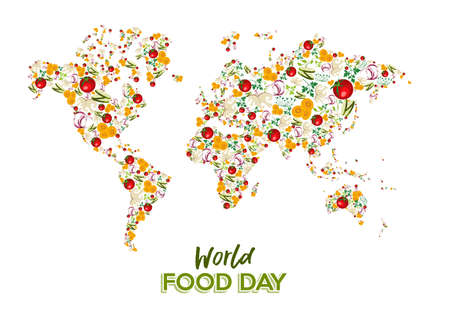 Illustration pour Food Day greeting card illustration for nutrition and healthy diet with vegetable world map concept. - image libre de droit