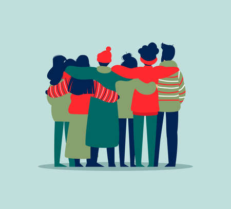 Ilustración de Diverse friend group of people hugging together in winter clothes for christmas or seasonal celebration. Girls and boys team hug on isolated background with copy space. - Imagen libre de derechos