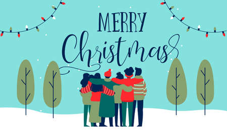 Ilustración de Merry Christmas greeting card illustration of young people friend group hugging together at holiday winter party. Diverse social friends team from different cultures celebrating. - Imagen libre de derechos