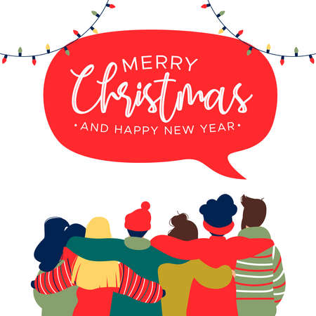 Illustrazione per Merry Christmas and Happy New Year greeting card illustration with diverse friend group of young people hugging together for holiday celebration. - Immagini Royalty Free